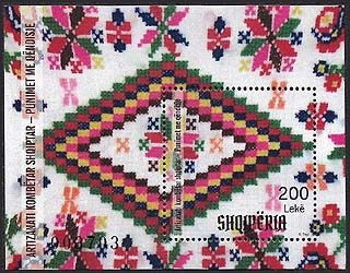 Albania new post stamp Albanian National Craft - Embroidery Works s/s